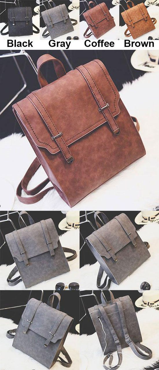 Retro Matte Square PU Metal Lock Match Large Scrub College Backpack for big sale! #large #college #backpack #matte #retro #Bag
