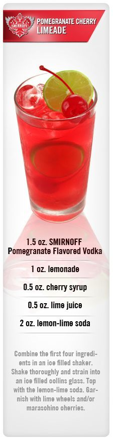 Pomegranate Cherry Limeade drink recipe with Smirnoff Pomegranate Flavored Vodka, Lemonade, Lime Juice, Cherry Syrup & Lemon-lime soda.