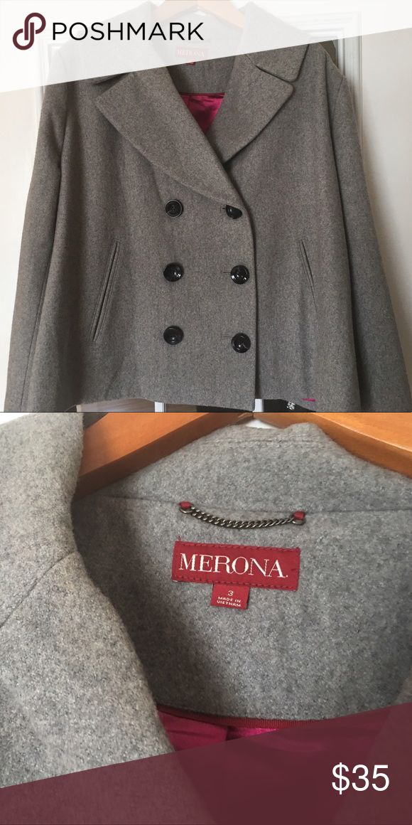 Merona Plus Size Peacoat Short-waisted gray wool blend coat with magenta lining. The coat is a plus-size 3 - Merona (Target). Great condition, rarely worn. Merona Jackets & Coats Pea Coats