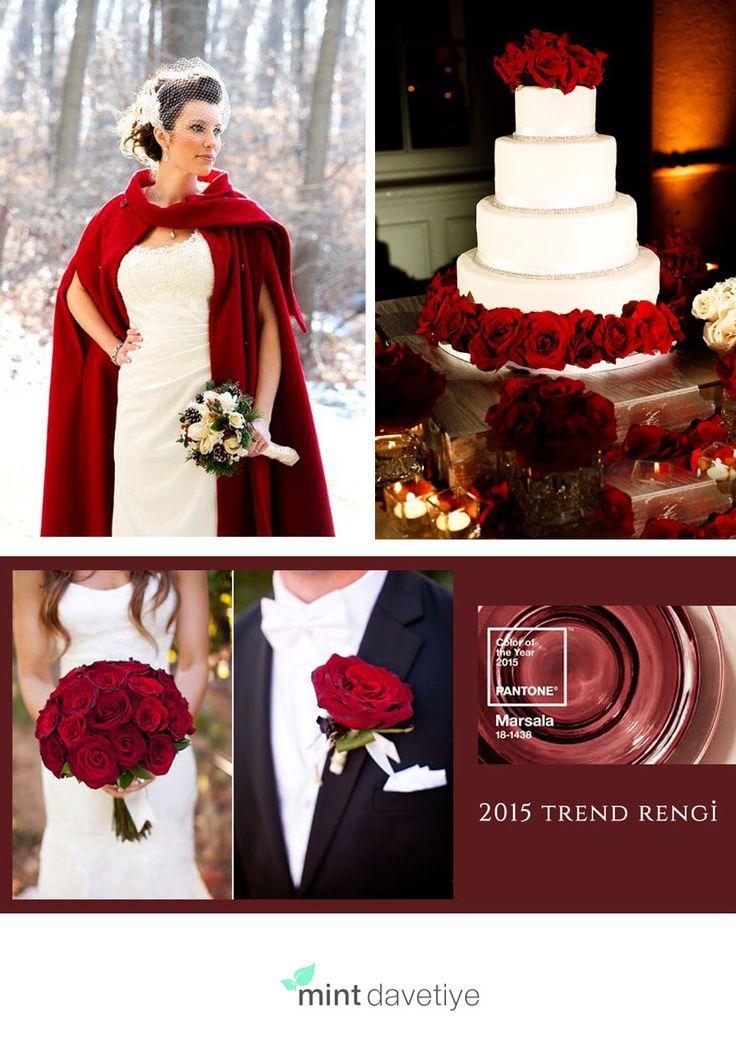 #2015 #trend rengini seçen #pantone, #marsala ile #düğününüze tutku katın..
