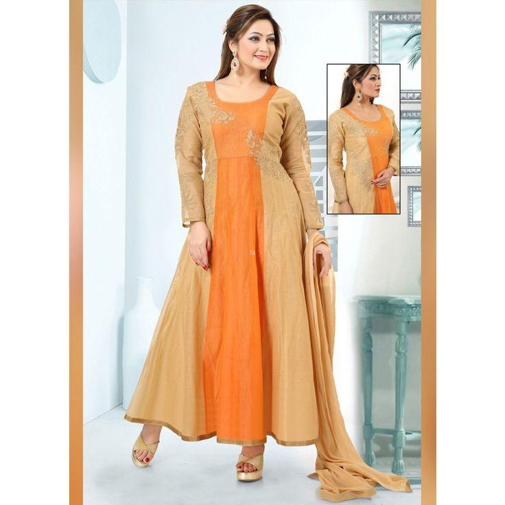 Beige and Orange Art Silk Readymade #Anarkali Suits-$73.10