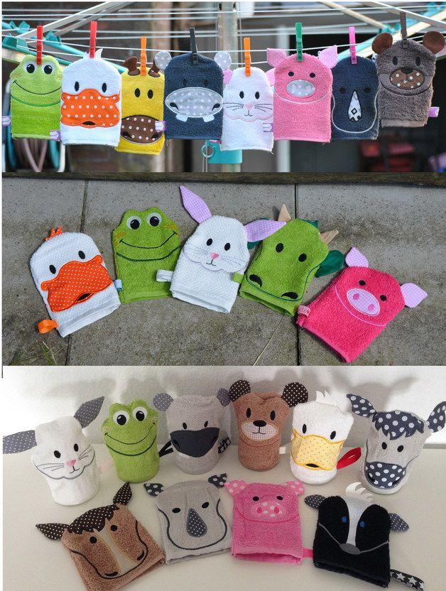 Modèles de broderie, 13x18 Happy Animals Waschlappen - ITH est une création orginale de SewDreams sur DaWanda
