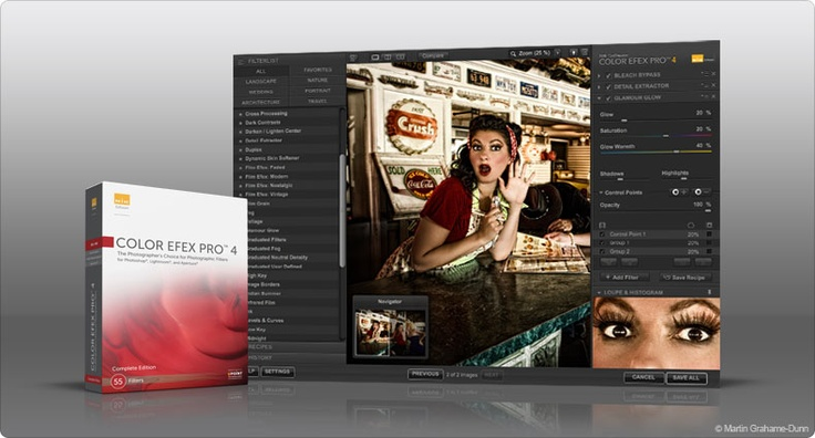 Color Efex Pro from Nik.  A must addition to Photoshop!