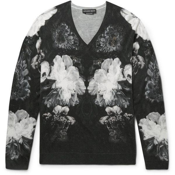 Alexander McQueen Slim-Fit Floral-Print Wool and Silk-Blend Sweater ($710) found on Polyvore featuring men's fashion, men's clothing, men's sweaters, mens slim fit sweater, mens woolen sweaters, mens floral sweater, mens white sweater and mens wool sweaters