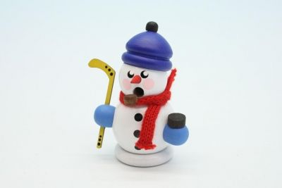 Räuchermann klein Hockeyspieler mit Mütze weiß  8 cm