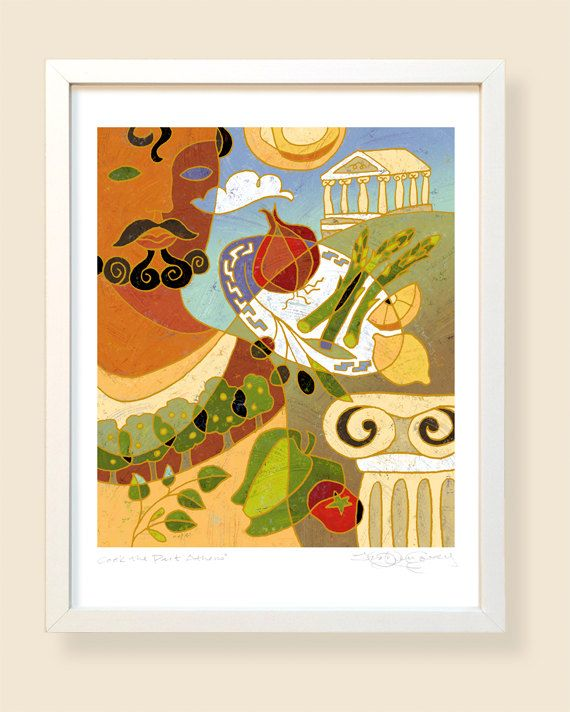 Athens  Kitchen Art  Food Illustration  by TraciOVeryCoveyArt, $100.00