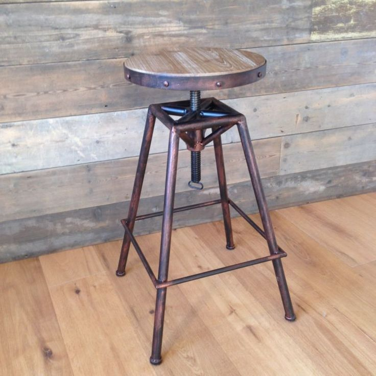 Bistro Style adjustable Stool urban vintage industrial rustic - Burnt Copper