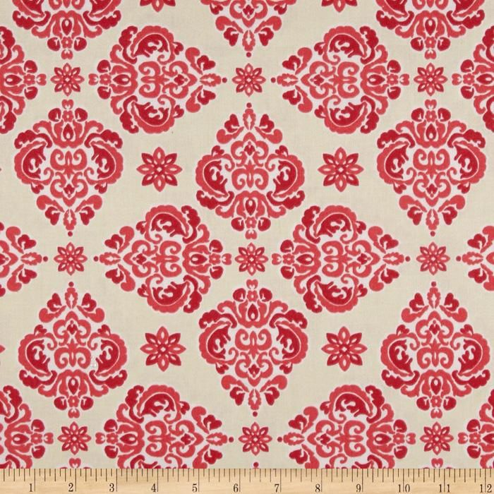 Waverly Lola Twill Blossom from @fabricdotcom  Screen printed on cotton twill, this medium weight fabric is very versatile. This fabric is perfect for window treatments (draperies, valances, curtains, and swags), bed skirts, duvet covers, pillow shams, accent pillows, tote bags, aprons and upholstery. Colors include shades of coral with white on an ivory background.