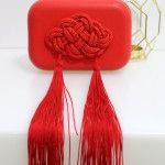 Rode lederen clutch / tasje - Elisabetta Franchi www.stylebiss.be