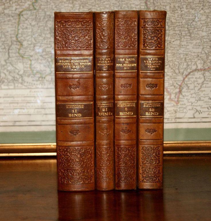 4 FINE ANTIQUE LEATHER  BOOKS - GOLD DECOR - INTERIOR DESIGNERS - OLD PATINA