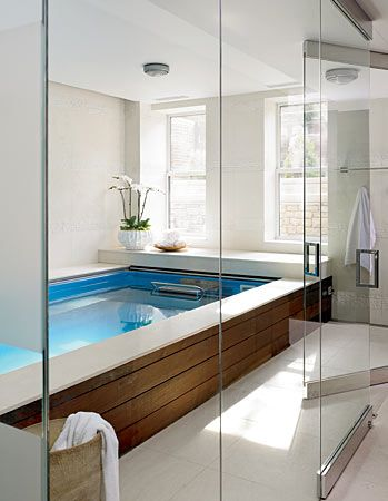 The indoor 'endless' lap pool - would love to put this in the basement!  :-)