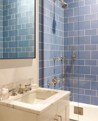Blue Tile Mendelson Group Contemporary Small Bathroom Design With White Bathroom Vanity Cabinet With Marble Counter Top Blue Glass Tiles Shower Surround
