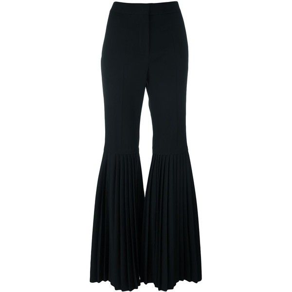 Stella McCartney 'Chellini' bell bottom trousers ($1,300) ❤ liked on Polyvore featuring pants, black, stella mccartney, wool pants, bell bottom trousers, stella mccartney pants and bellbottom pants