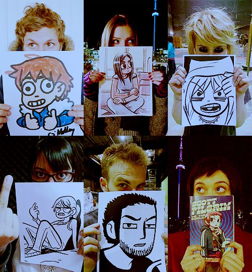 Scott Pilgrim vs The World cast hold up their comic characters...