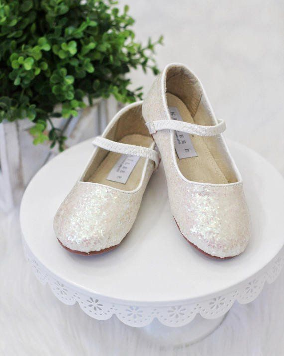 Girls Shoes WHITE Rock Glitter Maryjane Ballet Flats, Flower Girl Shoes, Holiday Shoes, Party Shoes