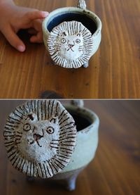 Fun safari lion bowl wet clay project (for art camp?)