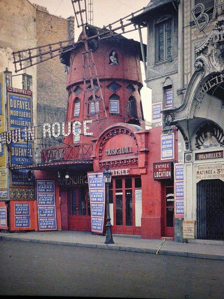 Early color photograph of Moulin Rouge cabaret, Paris (1914)