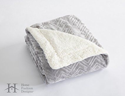 Premium Reversible Berber and Sculpted Velvet Plush Luxury Blanket. High-End, Soft, Warm and Silky Bed Blanket. By Home Fashion Designs Brand. (Full / Queen, Pewter)