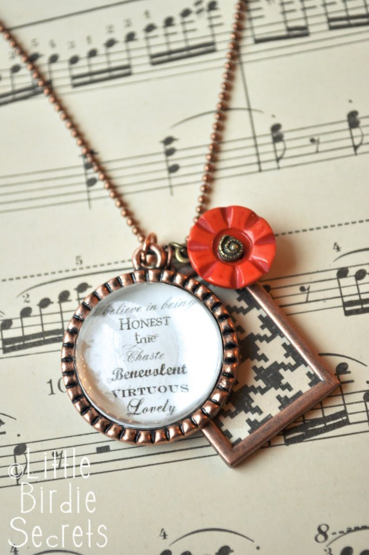 Homemade necklace with paper and words
