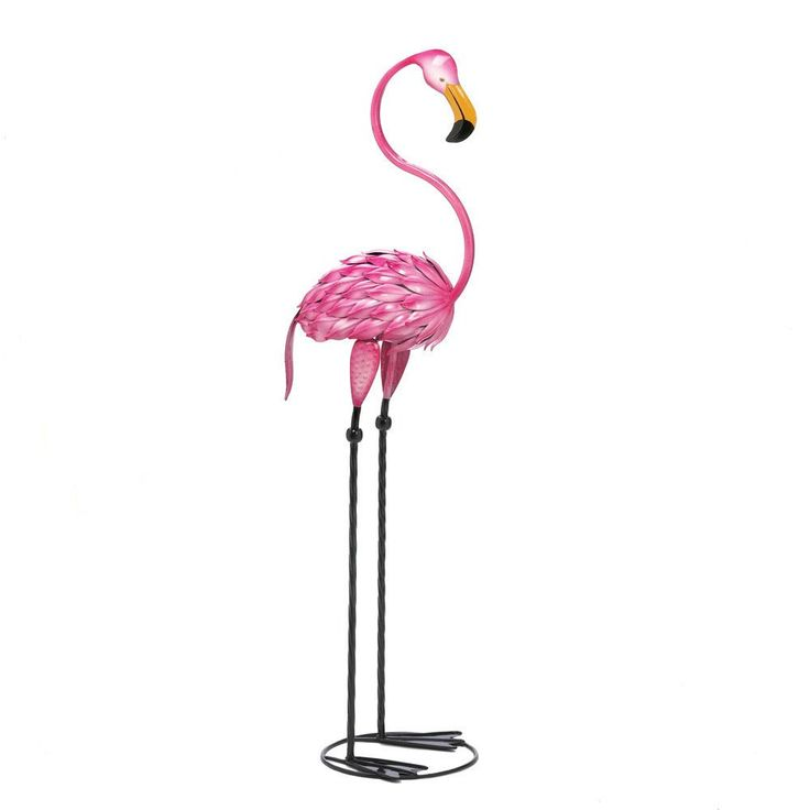 1960s Retro Style Metal Pink Flamingo Garden Lawn Ornament