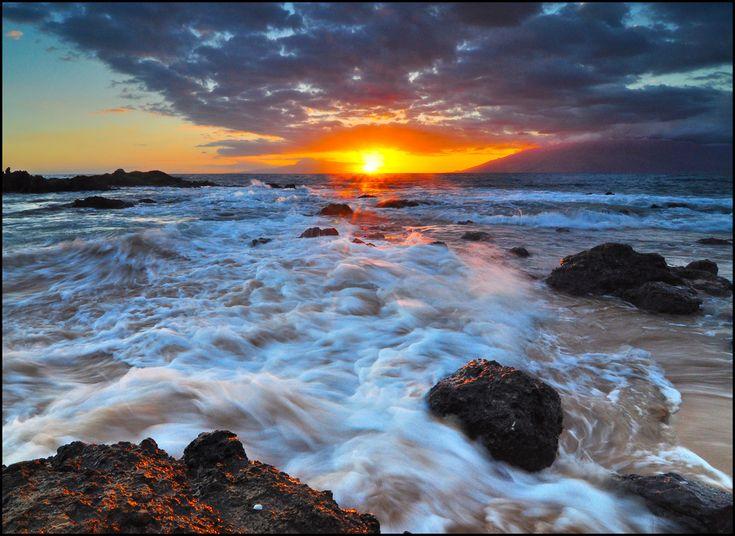 Kama'ole Beach Three, Sunset, Kihei, Maui, Hawaii