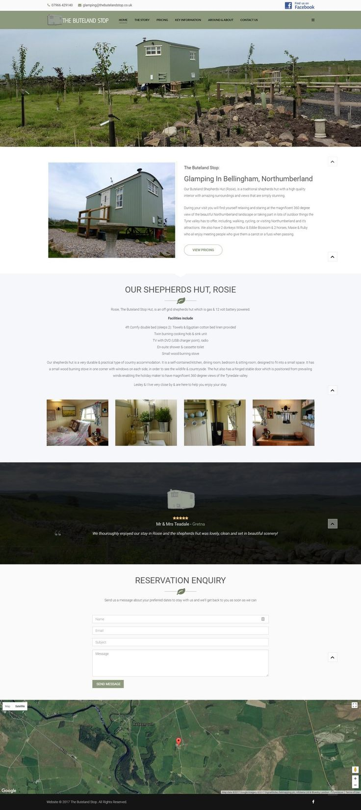 Fancy some glamping in Northumberland?  This new website design for a new glamping business has all the information you need!