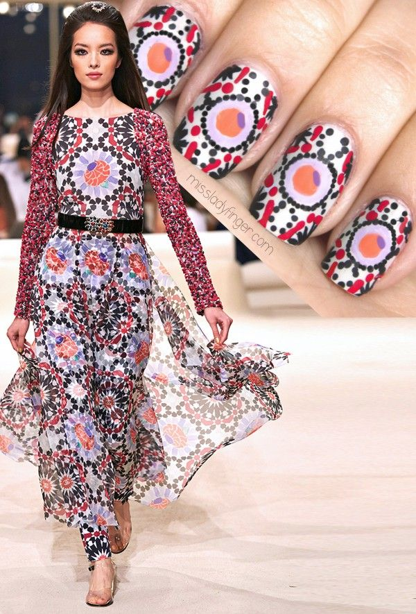 MM Chanel Resort 15 inspired nail art from Miss Lady Finger