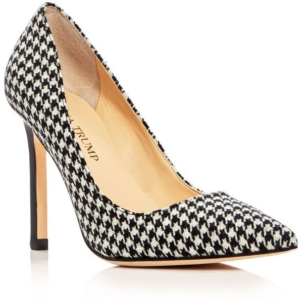Ivanka Trump Carra Houndstooth Pointed Toe Pumps ($140) ❤ liked on Polyvore featuring shoes, pumps, patterned pumps, ivanka trump, houndstooth print shoes, print shoes and pointy-toe pumps