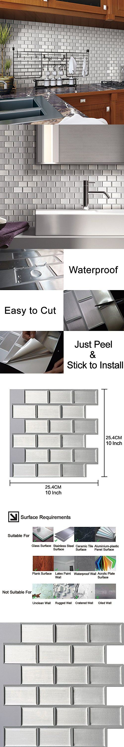 """Ecoart Peel and Stick Self-Adhesive Wall Tile for Kitchen / Bathroom Backsplash in Silver Brick Style, 10"""" X 10"""" (Pack of 6)"""