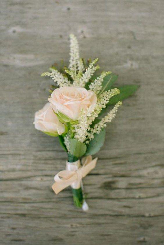 Soft pink rose boutonniere / http://www.himisspuff.com/astilbes-wedding-ideas/10/