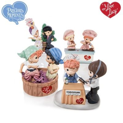 FIRST-EVER! Handcrafted limited-edition I LOVE LUCY Precious Moments figurines recaptures Lucy in classic TV moments.