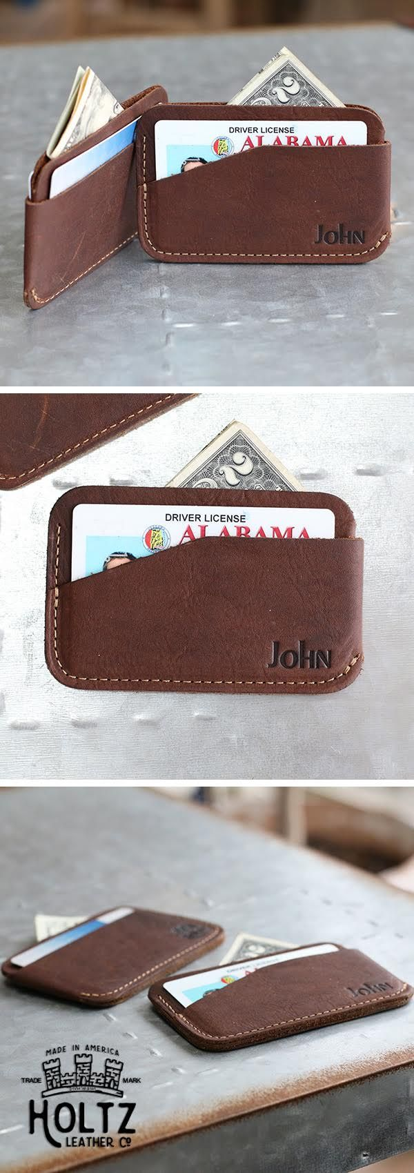 "The ""Charleston"" Front Pocket Tri-Pocket Wallet - Made in Sweet Home Alabama USA - Full Grain American Leather - Personalized for that special touch - Graduation, Wedding, Birthday, Fathers Day Gift"