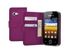 PURPLE WALLET Leather Flip Case Cover Pouch for Samsung GT-S5360 Galaxy Y Young
