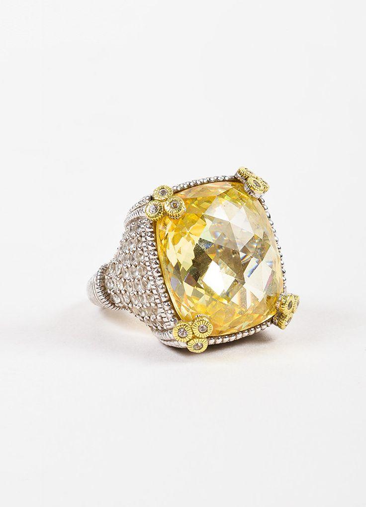 "Judith Ripka Sterling Silver 18K Gold Canary Crystal Diamond ""Monaco"" Ring"