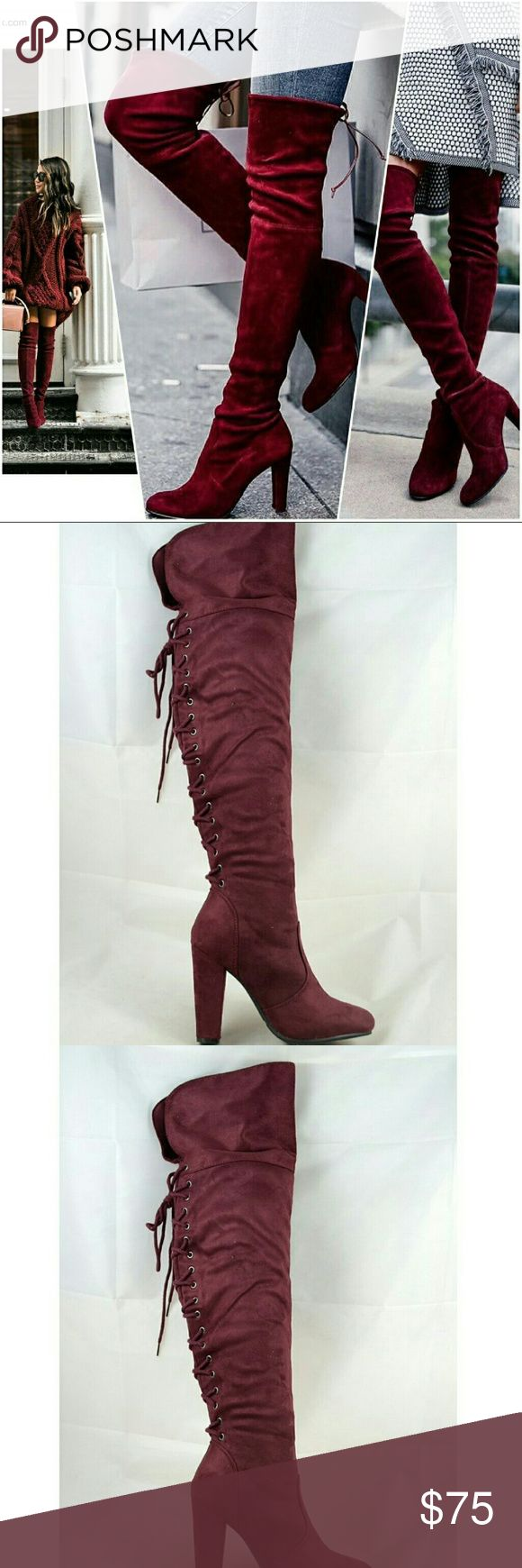 """Burgundy Back Lace Up Over the Knees Boots @blushonme at Poshmark   Burgundy back lace up over the Knees Boots  True to size   Heel - 4""""  ● PRICE IS FIRM ●  Note: Actual item see pictures two and three. Stock photos used to show ways to style. Shoes Over the Knee Boots"""
