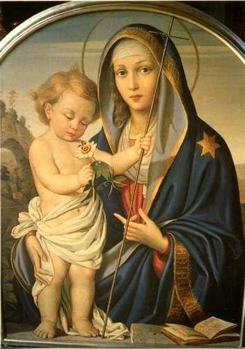 Madre Dei Sacerdoti. La virgen que señala con el dedo al niño Jesús.