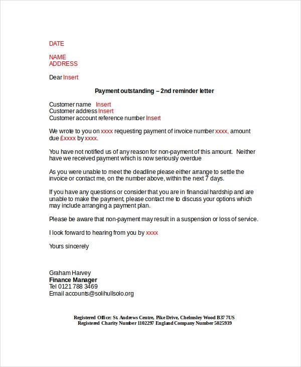 15 payment reminder letter templates pdf google docs. Black Bedroom Furniture Sets. Home Design Ideas