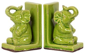 Stoneware Green Elephant Bookends transitional-bookends