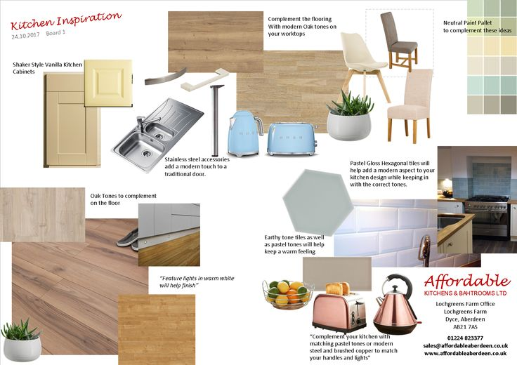 An inspiration Board created for a customer of ours who is looking for a warm modern kitchen/dining space.  This idea shows wood effect worktops, wood flooring, a pastel or simple tile to break up the wood and add a splash of colour to the room. Complemented with matching accessories and lighting this is sure to create an enjoyable space.