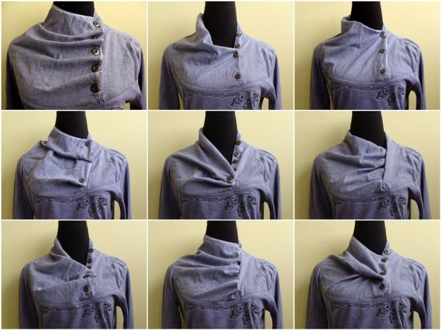 Такой рубашечной вставкой можно не толькопеределать футболку, но и увидеть как оригинально застегивать уже имеющуюся рубашку.    Варианты застегивания: