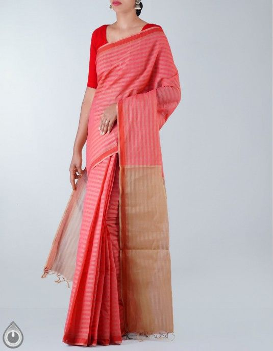 Online Shopping for Pink Pure Handloom Mangalagiri Cotton Saree with Weaving from Andhra Pradesh at Unnatisilks.com, India