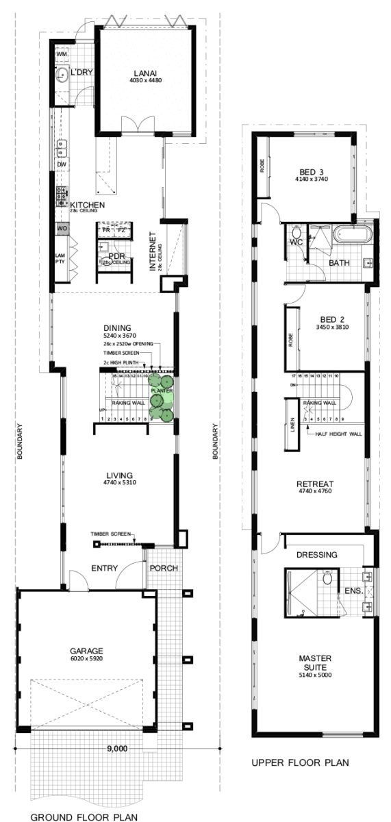 9m Wide House Plans Two Storey House Plans Narrow House Designs Narrow House Plans