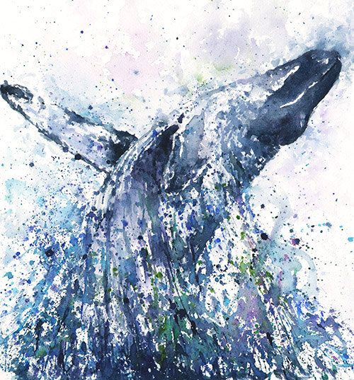 HUMPBACK WHALE ART  watercolor whale painting whale by SignedSweet