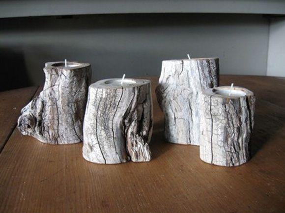 Portavelas hecho con tronco de arbol