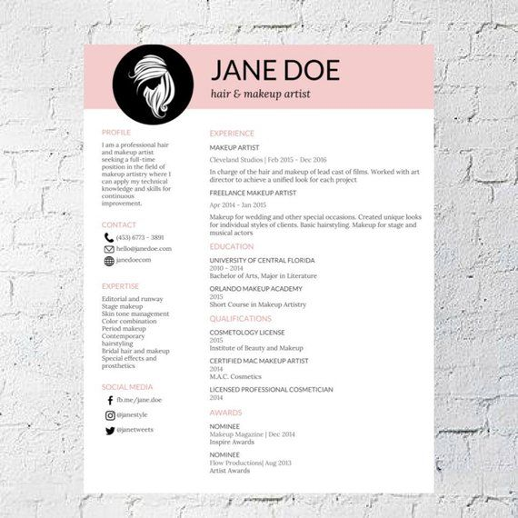 Description Professionally Designed Easy To Edit Template Package For The Hair Stylist And Make Up Artist Who Makeup Artist Resume Artist Resume Makeup Artist