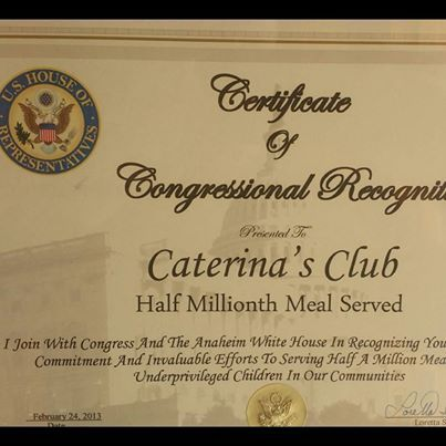 Award from the American Congress for the success of Caterina's Club