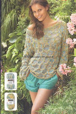 ВСЕ СВЯЗАНО. ROSOMAHA.: Романтичный летний пуловер сотовым узором из двух ...