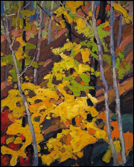 'Autumn Woods' by Franklin Carmichael, 1925.  The horizontal and slanted lines makes a subtle look for the trees. The curves and the diagonals of the leaves are uneven in  creating a more earthy and natural look.