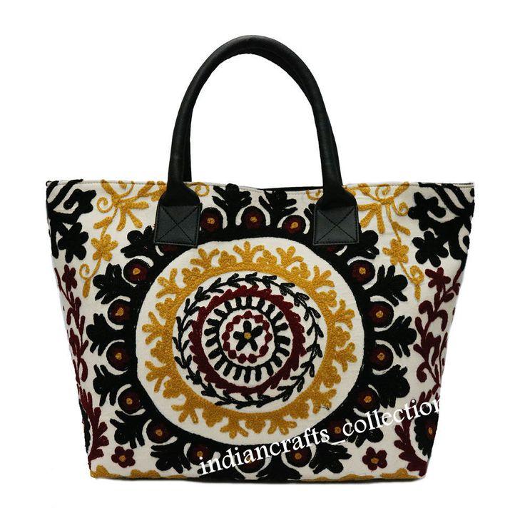 Indian Cotton Suzani Embroidery Handbag & Tote Woman Shoulder Bag Beach Boho Bag #Handmade #ShoulderBag