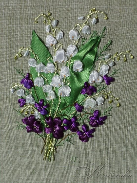 Violets and lilies of the valley #ribbonEmbroidery